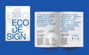 Catalogue d'exposition éco design avec couverture par le studio Alvin