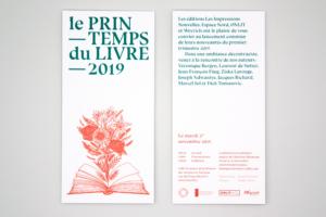 Design d'une invitation pour l'évènement Le Printemps du Livre à Bruxelles