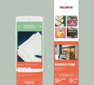 Mofelito Paperito Page d'accueil mobile responsive avec couleurs personnalisées