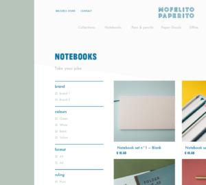 Mofelito Paperito Page Produits Shopify avec filtres de tri personnalisés